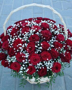 Корзина из 45 роз